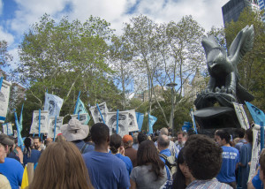 Flood Wall Street protesters gather at Battery Park