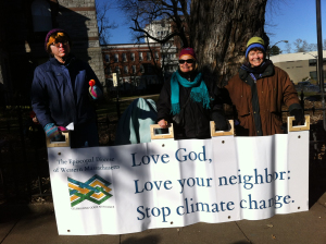 Diana Spurgin, Lucy Robinson, and Margaret Bullitt-Jonas at No KXL rally, Dec. 13, 2014