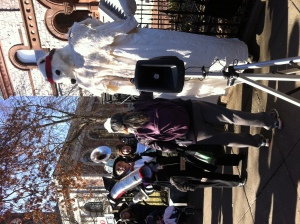 Street theater: face off between a banker and a polar bear