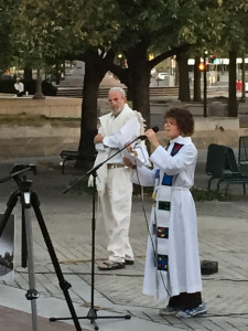 Praying at Multi-faith Prayer Vigil, with Rabbi Mordechai Liebling