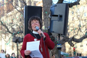 "Margaret speaks at ""Jobs, Justice, & Climate"" on Dec. 12, 2015, the biggest climate rally in Boston's history (photo by Joel Wool)"