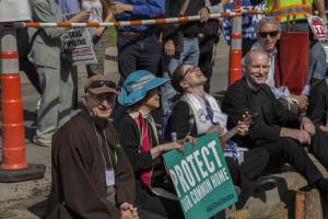 John Bell (Buddhist), MBJ (Episcopal), Rabbi Shoshana Friedman (Jewish), Rev. Fred Small (Unitarian Universalist) (photo credit: Robert A. Jonas)