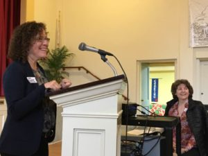 Amy Benjamin & Lise Olney speak about MAICCA (Mass. Interfaith Coalition for Climate Action), which hopes to partner with SAICAN (Springfield Area Interfaith Climate Action Network). Photo credit: Rev. Marisa Brown Ludwig