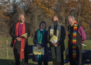 Bishop Doug Fisher, Margaret Bullitt-Jonas, Bishop Jim Hazelwood, & Bishop Alan Gates. Photo credit: Robert A. Jonas