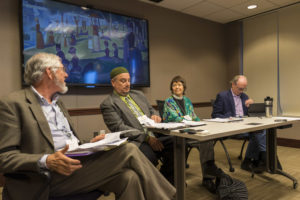 Mark Johnson, Imam Saffeta Catovic, Margaret Bullitt-Jonas, & Hugh G. Bryne. Photo credit: Robert A. Jonas